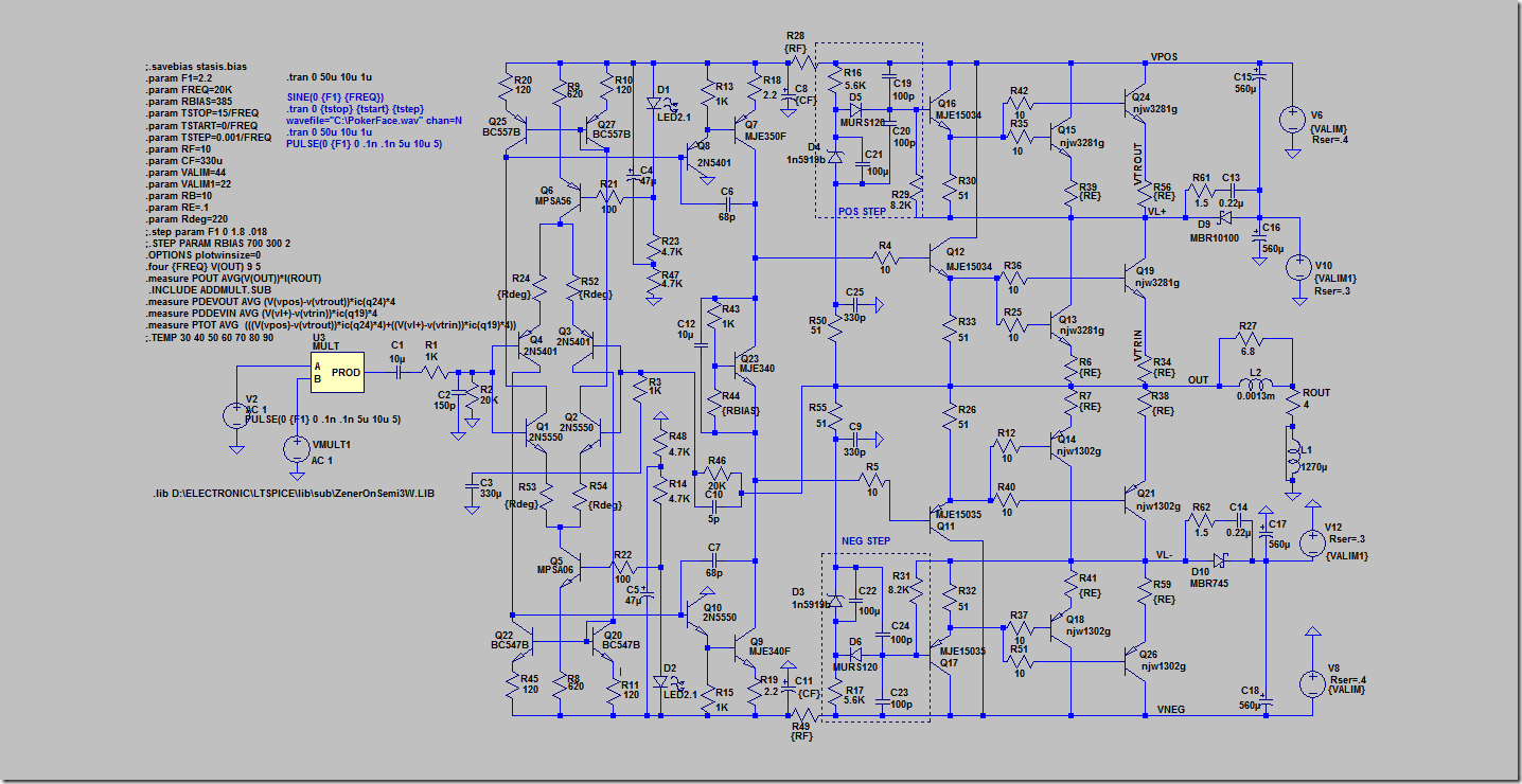 """It is a classic """"mirror"""" topology with double differential input and double  voltage amplifier stage (VAS), in an Emitter Follower configuration; ..."""